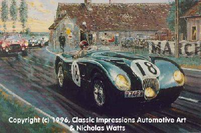 Nicholas Watts' excellent painting of a C-Type at Le Mans